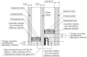Подробная схема спайдерного остекления