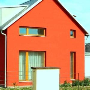 Оранжевый фасад дома