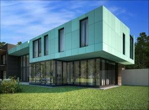 Облицованный дом композитными панелями