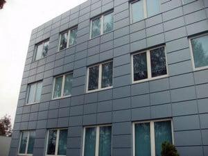 Фасад, облицованный алюминиевыми панелями