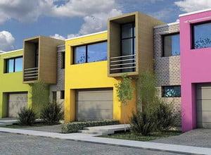 Разноцветный фасад дома