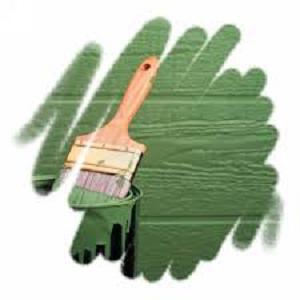 Зеленая краска и кисть