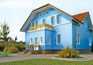 Отделка дома голубым сайдингом