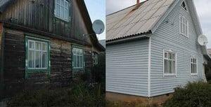 Деревянный дом до и после облицовки