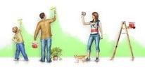 Рисунок, семья штукатурит дом