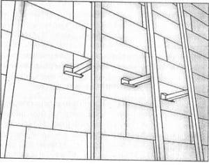 Пример крепления обрешетки на стену.