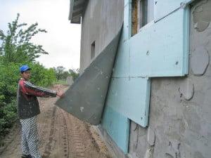 пример утеплителя на наружной стене дома