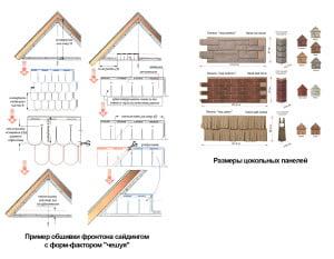 Пример обшивки сайдингом и размеры цокольных панелей
