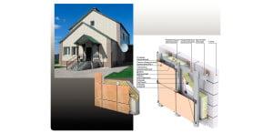 Структура и вид стеновой наружной панели из керамогранита