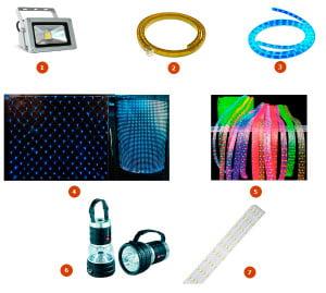 Виды светодиодных светильников: 1-прожектор, 2-чейзинг, 3-дюралайт, 4-сетка, 5-дюрафлекс, 6-фонарь, 7-линейка
