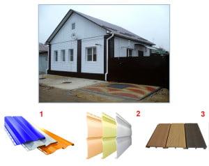 Виды сайдинга: 1-металлический, 2-виниловый, 3-деревянный