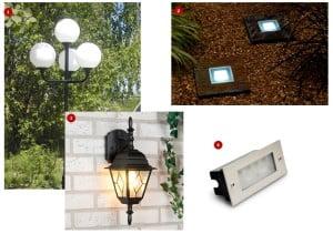 Виды светильников: 1-торшерные, 2-грунтовые, 3-настенные, 4-встраиваемые